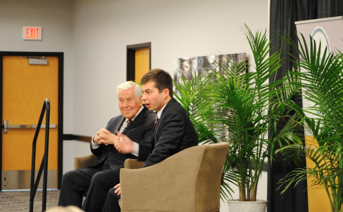Sen. Richard Lugar, left, with South Bend Mayor (and current Democratic presidential candidate) Pete Buttigieg