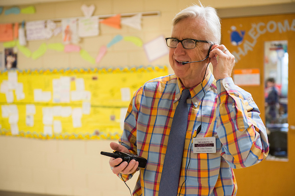 Dr. John Somers' class uses technology in the form of iPads and video/audio capture while working with fourth, fifth and sixth graders